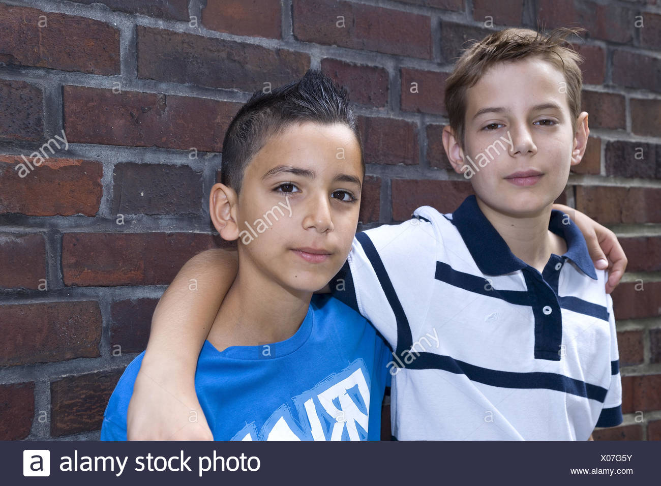 two boys, mates, friendship, view camera, portrait, - Stock Image