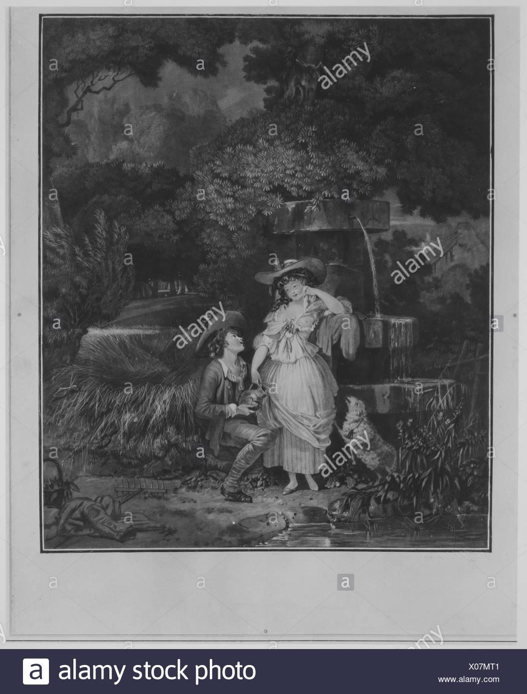 Fortune and Misfortune, or The Broken Pitcher. Artist: Louis Philibert Debucourt (French, Paris 1755-1832 Paris); Date: 1787; Medium: Mezzotint - Stock Image