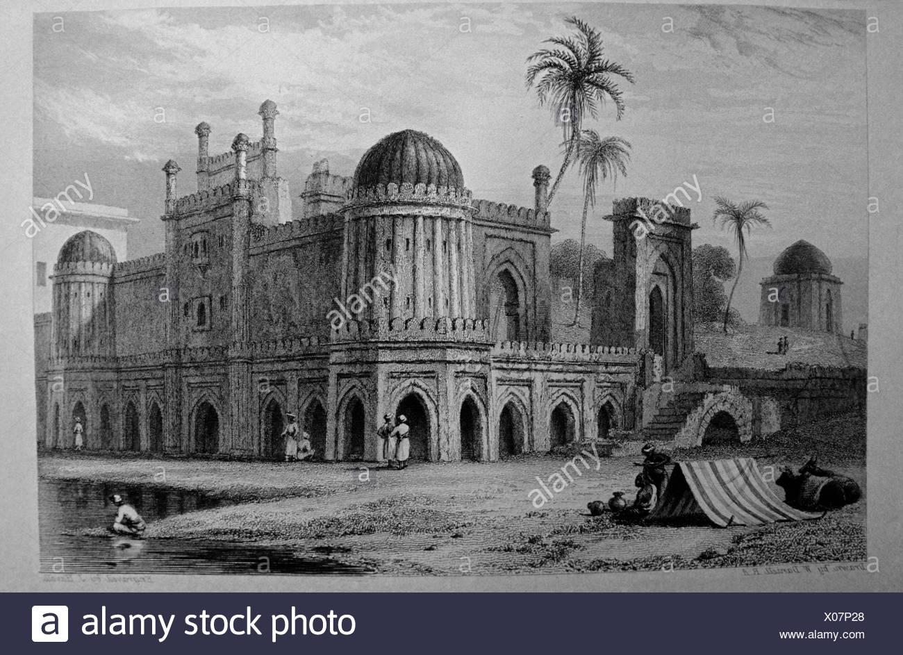 Lithograph of deserted houses - Stock Image