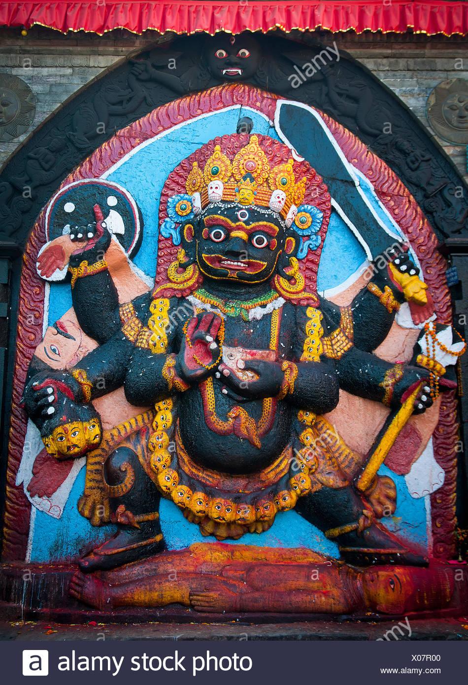 Religious Bas Relief; Kathmandu, Boudhanath, Nepal - Stock Image