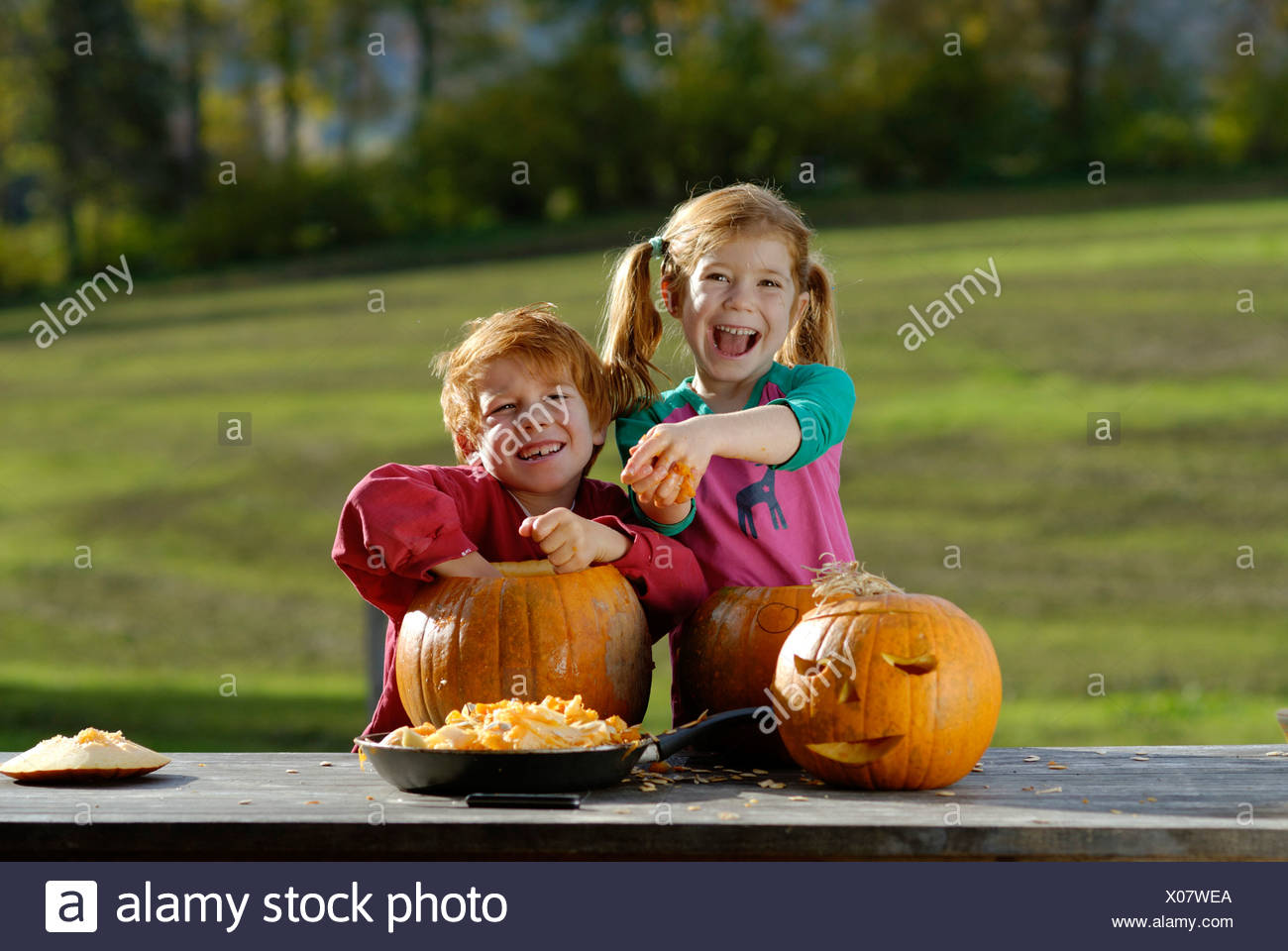 Two children carving pumpkins for Halloween decoration - Stock Image