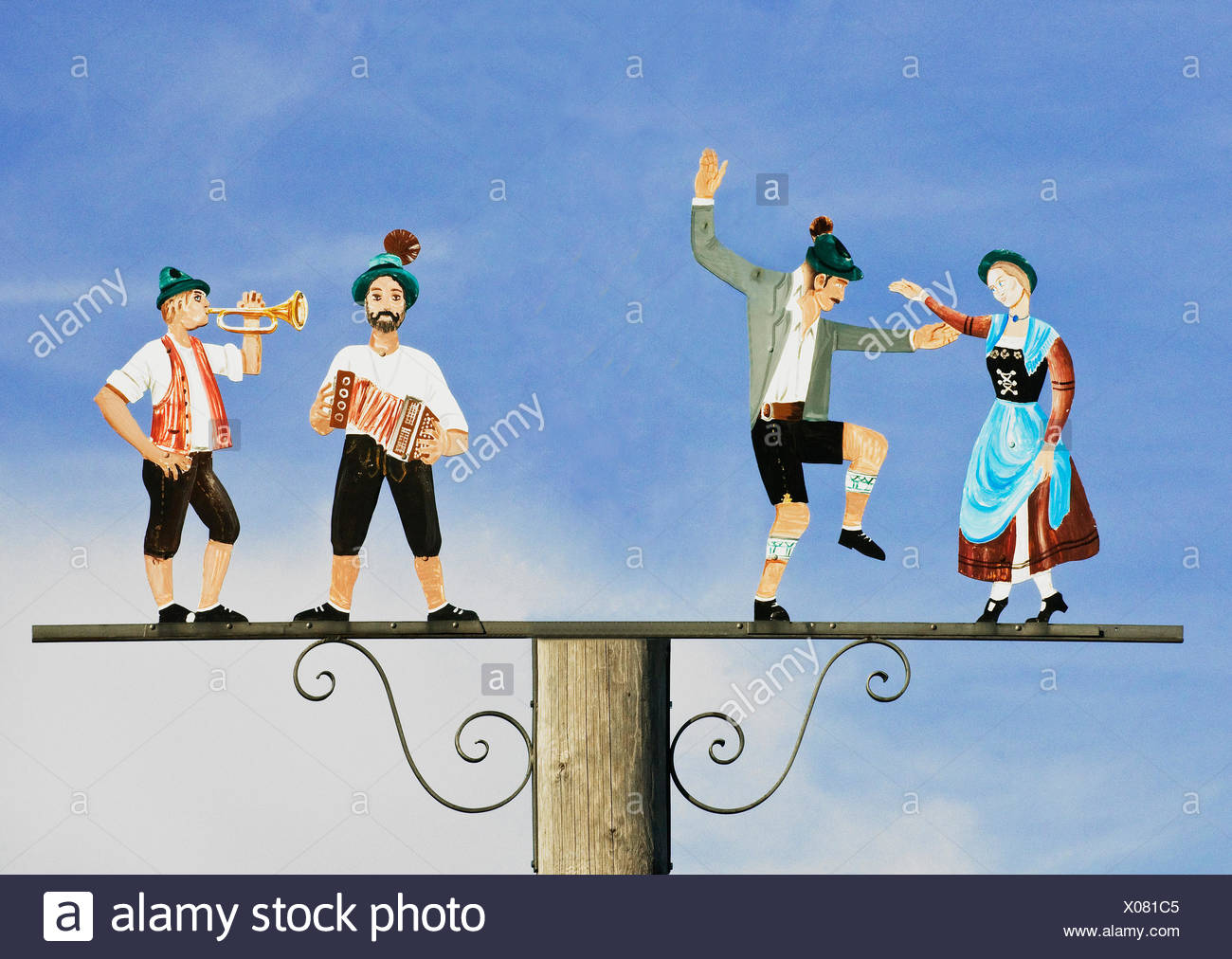 Musicians and dancers, tradition, lovingly decorated depiction, Bavaria - Stock Image