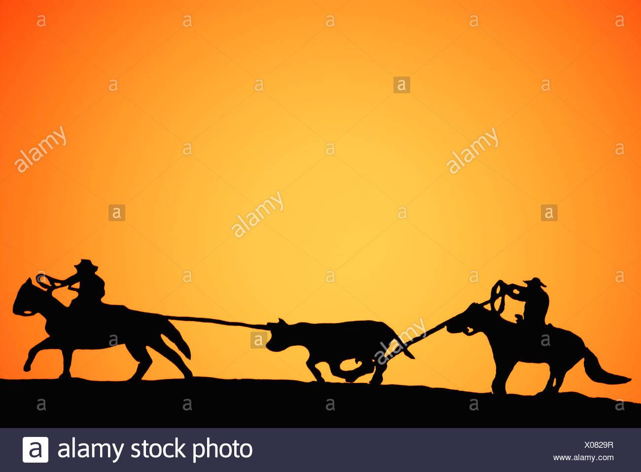 Calf roping - Stock Image