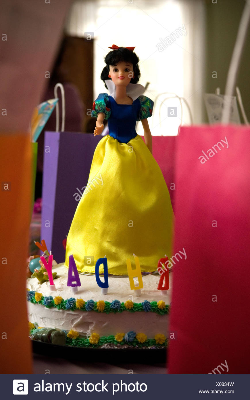 Incredible Birthday Cake Decorated With Snow White Doll Stock Photo Funny Birthday Cards Online Alyptdamsfinfo