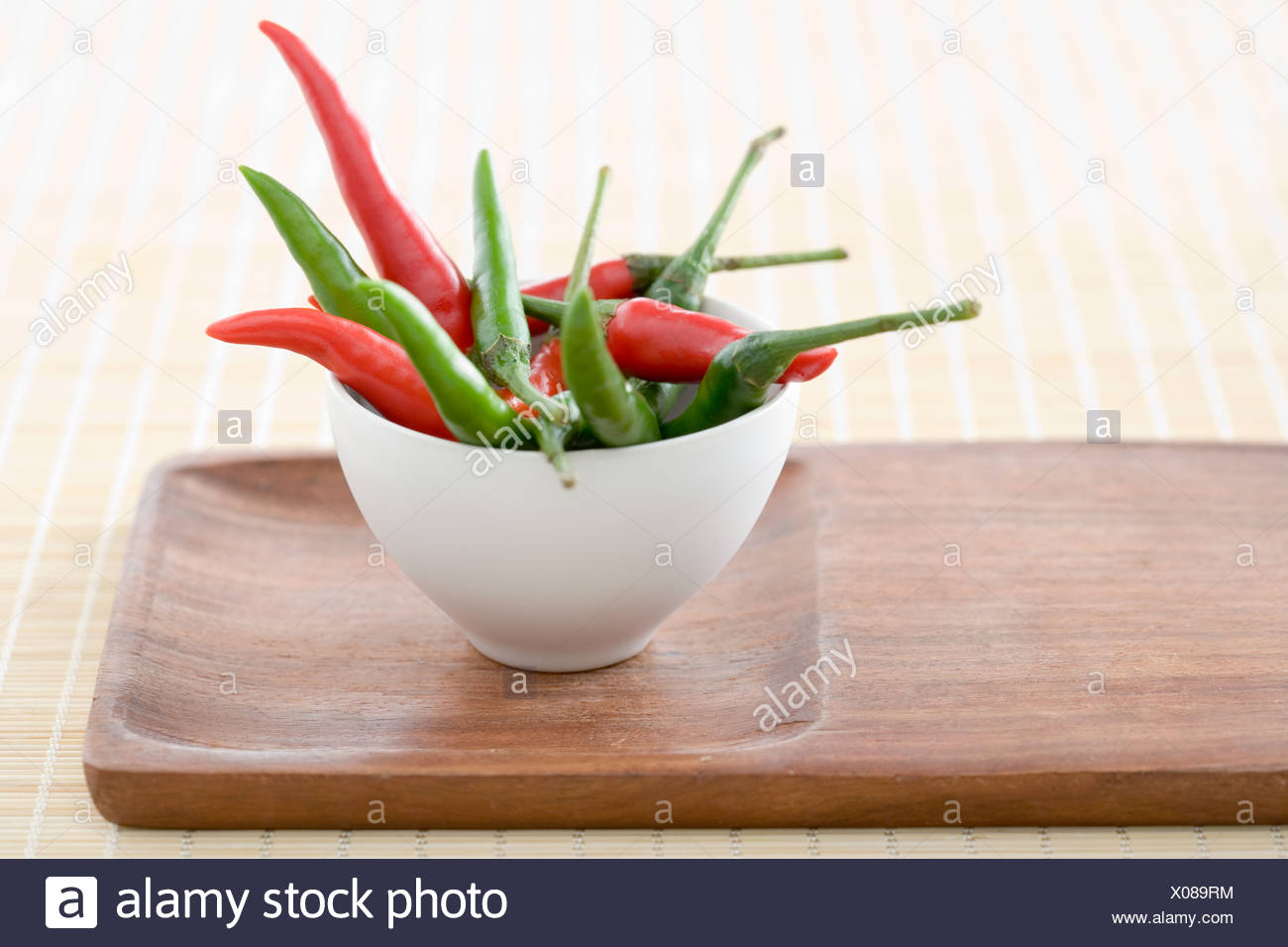 Chill peppers in a bowl - Stock Image