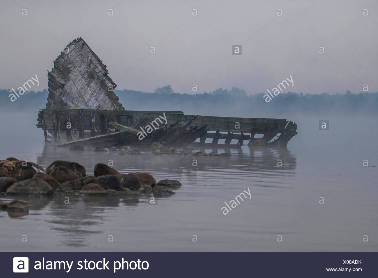 shipwreck in Breitling, Germany, Mecklenburg-Western Pomerania, Schnatermann, Rostock Stock Photo