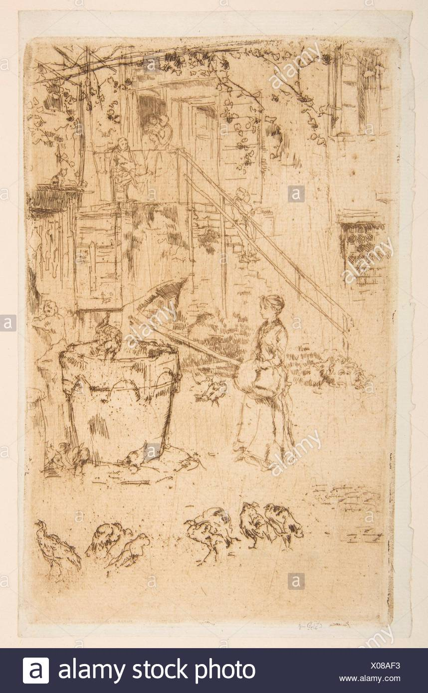 Turkeys. Series/Portfolio: Second Venice Set (A Set of Twenty-Six Etchings by James A. McN. Whistler, 1886); Artist: James McNeill Whistler - Stock Image
