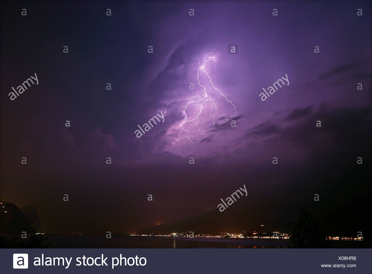 Flash over the Lake Garda - Stock Image