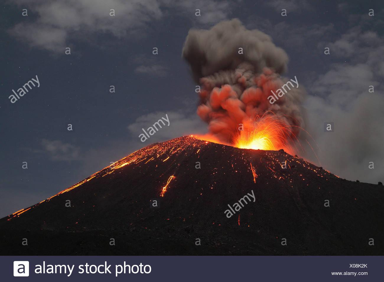 Indonesia, Sumatra, Krakatoa volcano erupting - Stock Image