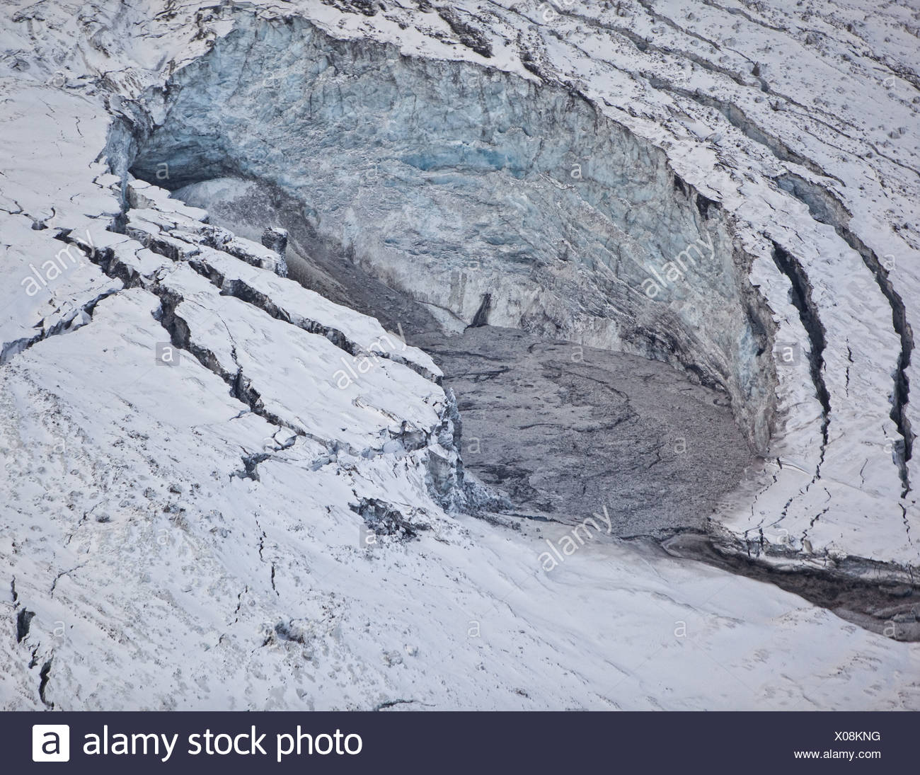 Gigjokull,-outlet glacier from Eyjafjallajokull.  Rushing water and flooding due to Eyjafjallajokull Volcano Eruption, Iceland - Stock Image
