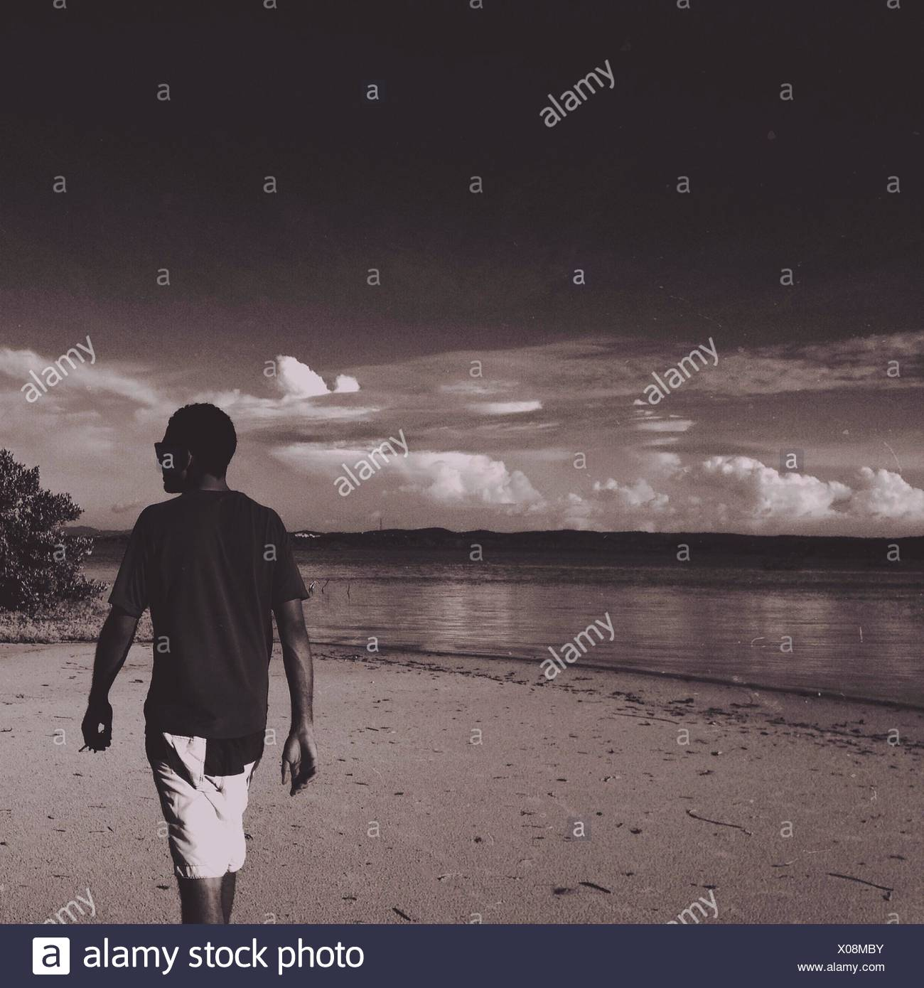 Rear View Of Man Walking On Beach Against Sky - Stock Image