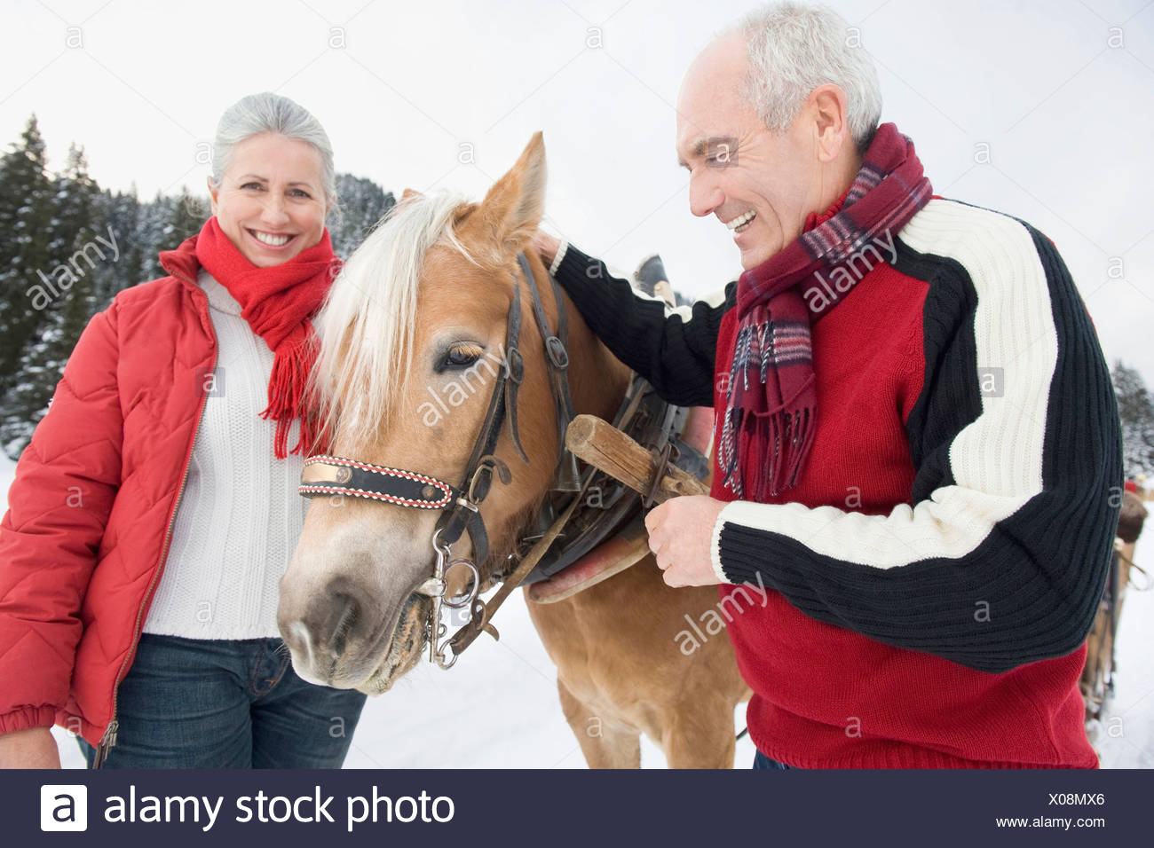 Italy, South Tyrol, Seiseralm, Senior couple standing by horse, smiling, portrait, close-up Stock Photo
