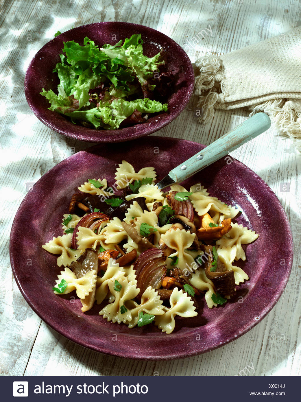 Plate Of Homemade Farfalle With Mushrooms - Stock Image