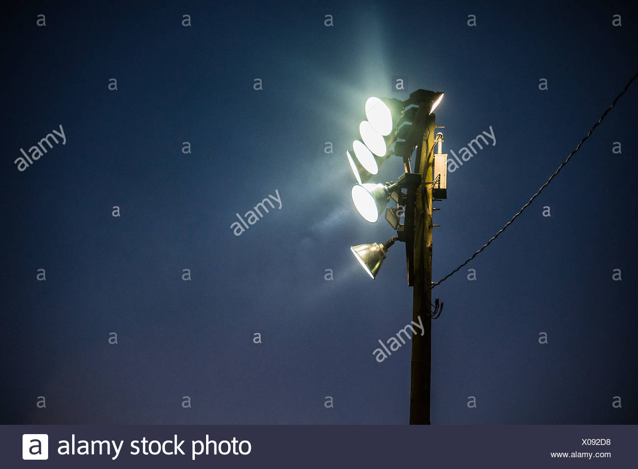 Floodlights at an outdoor event. - Stock Image