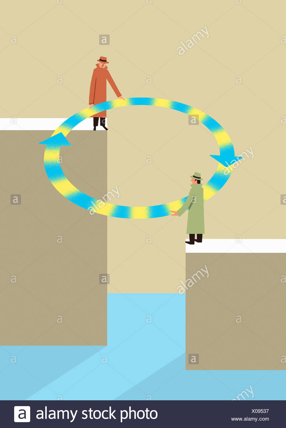 Businessmen bridging the gap with circle of arrows - Stock Image