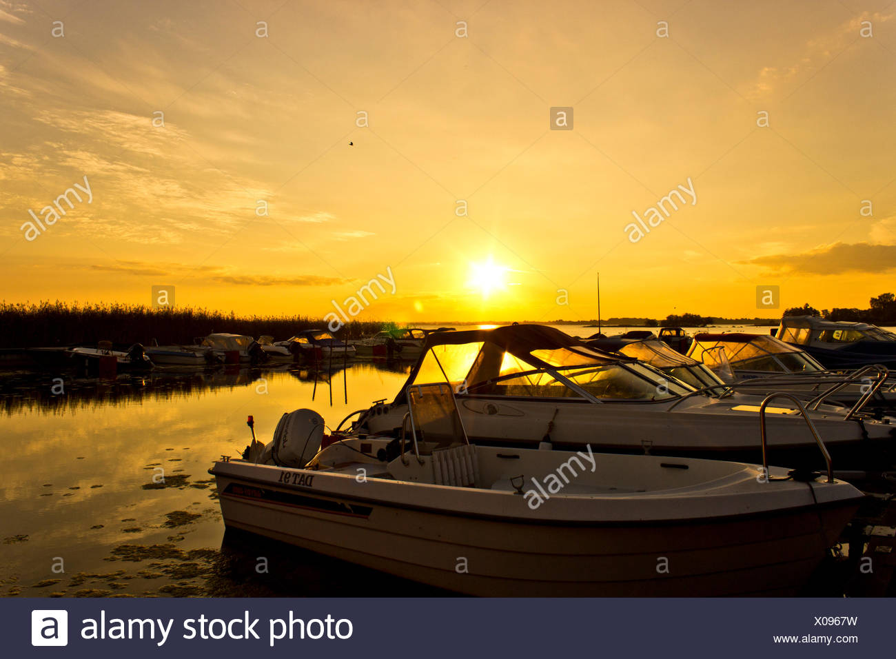 Motor Boats Moored In Row At Riverside At Sunset Stock Photo