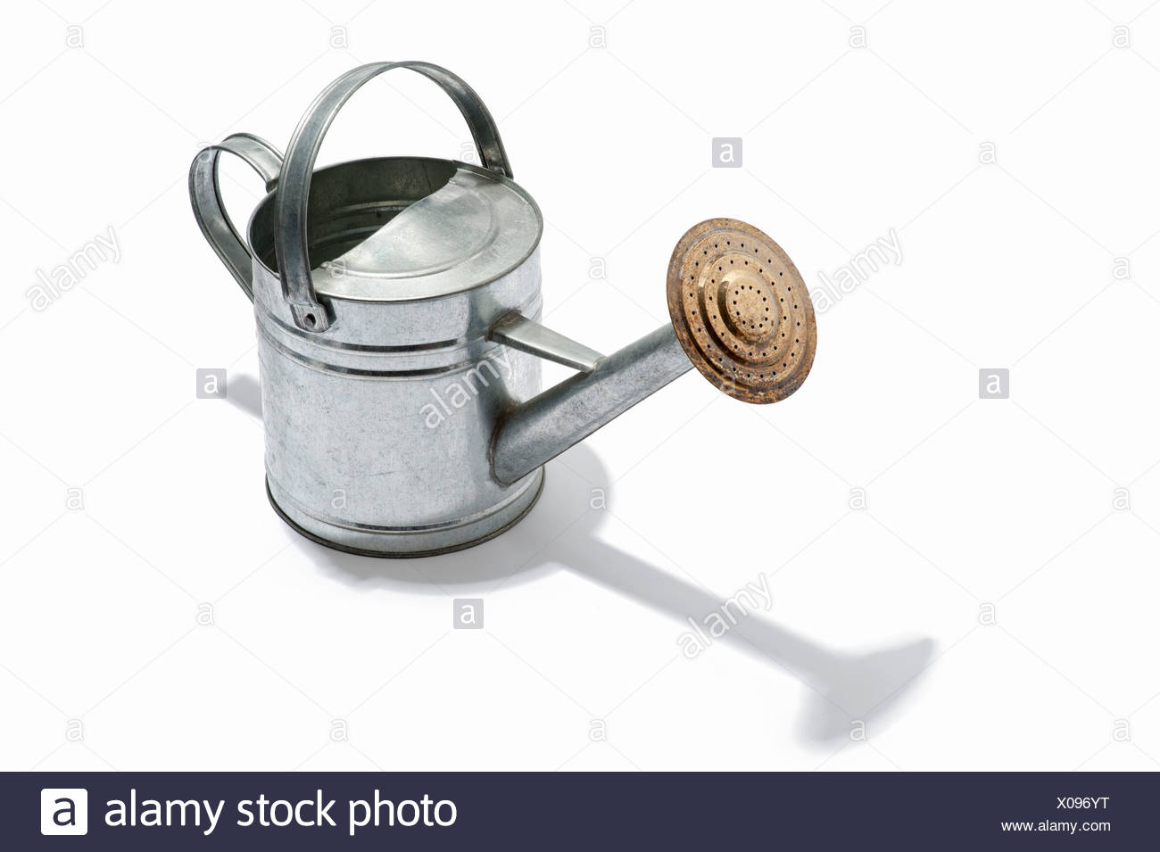 A metal watering can - Stock Image