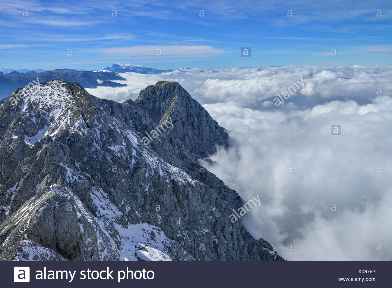 View from mount Hoher Goell over sea of fog in Salzach valley, Berchtesgaden National Park, Berchtesgaden Alps, Upper Bavaria, Bavaria, Germany Stock Photo