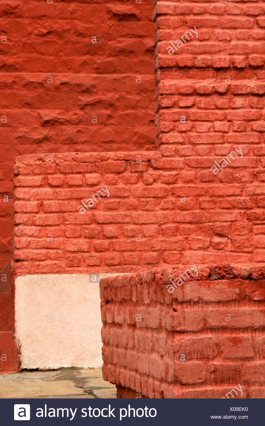 Abstract ; Brick walls painted red and various square shapes - Stock Image