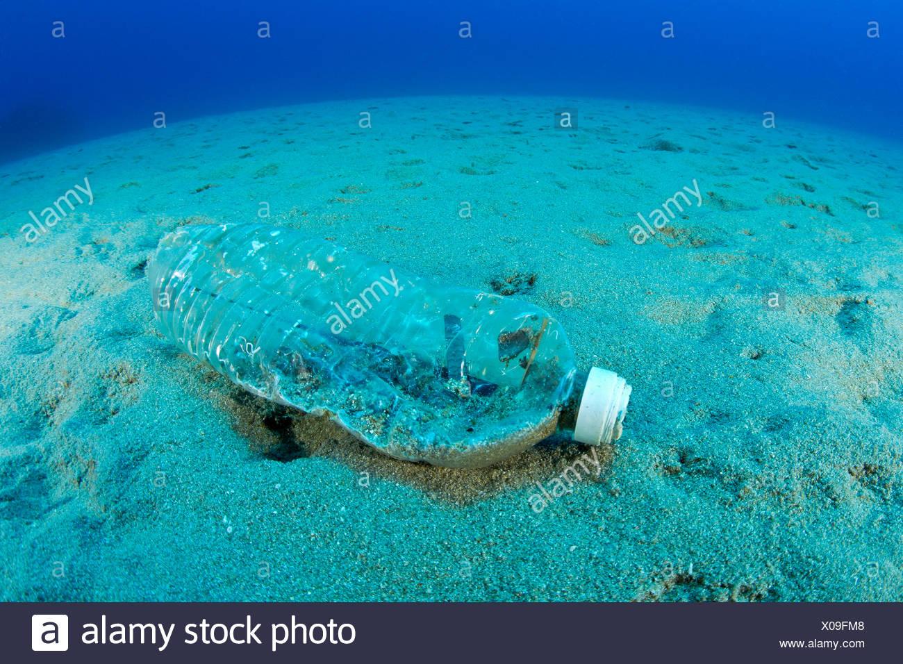 Plastic Bottle on Sea Floor, Ponza, Italy - Stock Image