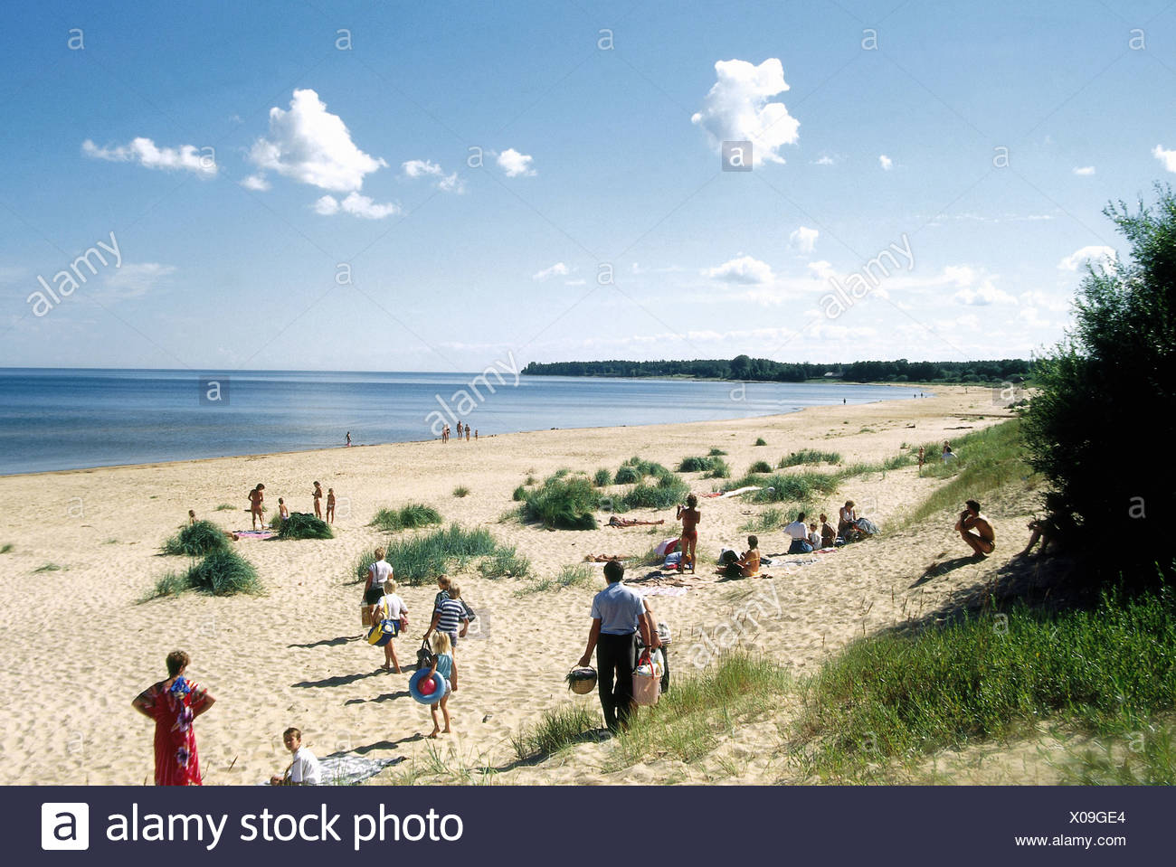 geography / travel, Latvia, Jurmela, bathing guests on the beach, Additional-Rights-Clearance-Info-Not-Available - Stock Image