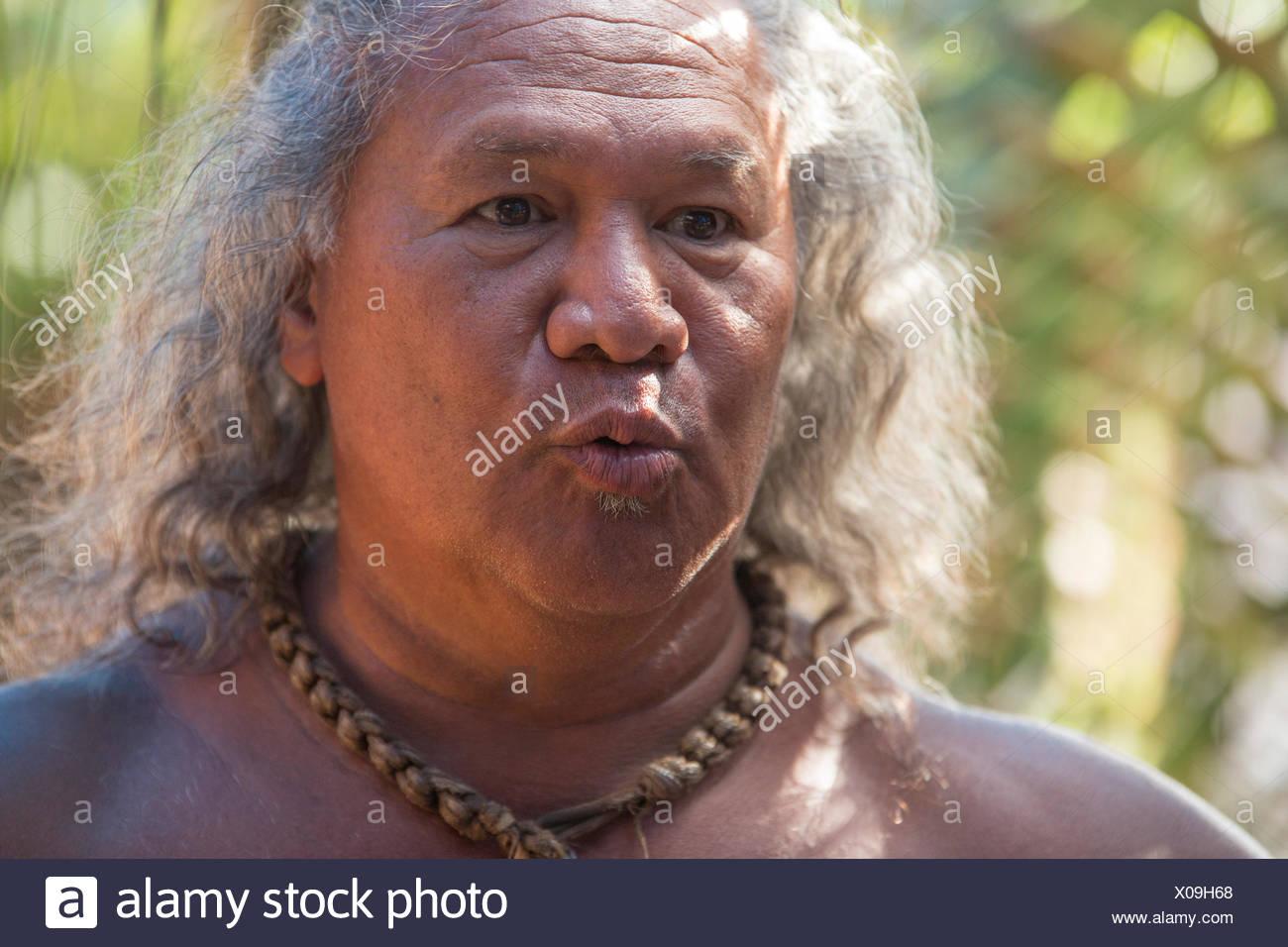 Molokai,local,Polynesian,no model-release,man,USA,Hawaii,America,portrait, - Stock Image