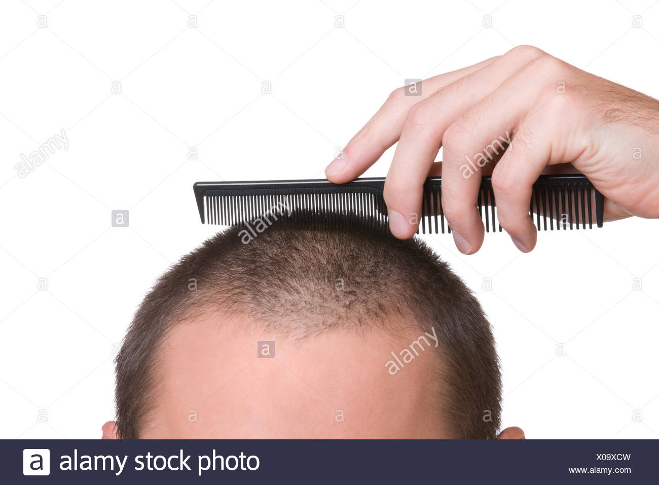 soldier small tiny little short cut crew haircut hair private hand isolated Stock Photo