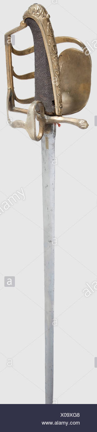 A sword for cavalry officers, Saxon/French, ca. 1740. Double-edged blade with original hexagonal cross section, on both sides one circular and one squared brass-lined mark, on one face mirrored 'L' (Louis XV) and 'Maurice', the other face shows the Saxon coat of arms and 'DdSCdF' (Duke of Saxony, Constable of France). Non-corresponding(?) brass hilt with remnants of gilding, similar to Saxon model 1729, with squared fist guard, thumb ring with rear guard and a large, knuckle shield decorated in relief depicting the goddess Victory above martial trophies. The gr, Additional-Rights-Clearences-NA - Stock Image