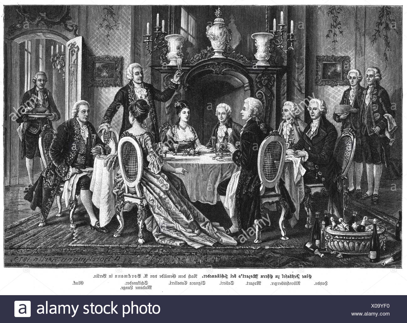 Mozart, Wolfgang Amadeus, 27.1.1756 - 5.12.1791, Austrian musician (composer), interior, table at Schikaneder for Mozart with Mozart, Salieri, Gluck, Haydn, Additional-Rights-Clearances-NA - Stock Image