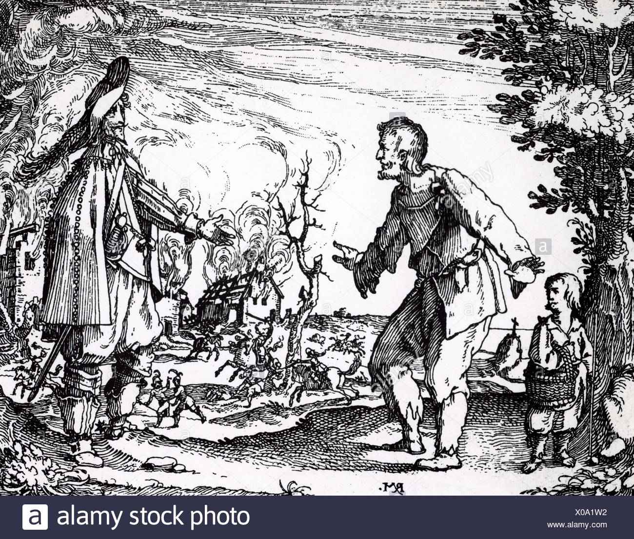 events, Thirty Years War 1618 - 1648, misery/adversity, pillaging soldiers, engraving by Rudolph Meyer, 1630/1635, Additional-Rights-Clearances-NA - Stock Image