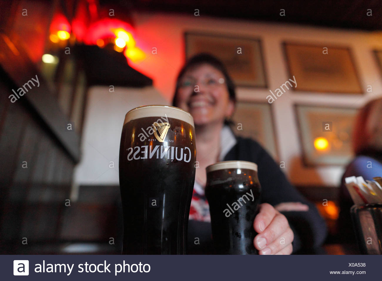 Pint of Guinness stout, Durty Nelly's pub, Bunratty, County Clare, Ireland, British Isles, Europe - Stock Image