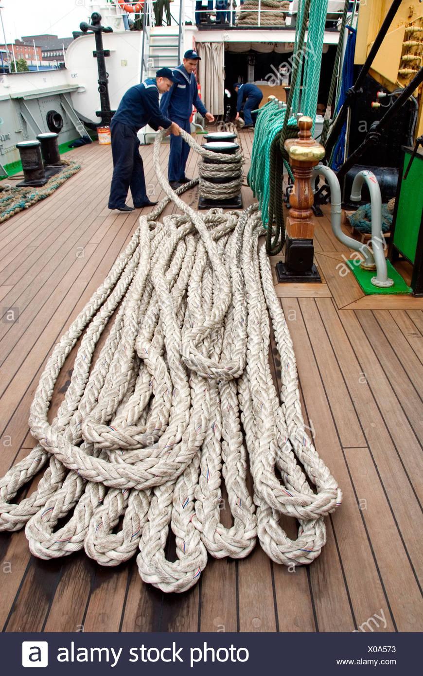 seamen and ropes on deck of the Kruzenshtern, Krusenstern, Germany, Schleswig-Holstein, Kiel - Stock Image