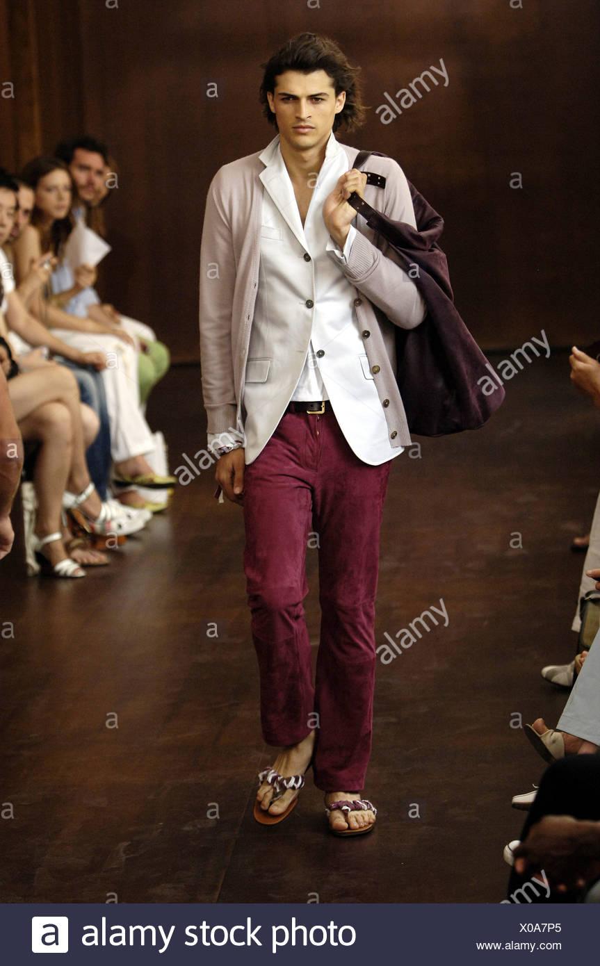 d67a2cffe Trussardi Milan Ready to Wear Menswear Spring Summer Brunette male model  walking on the runway wearing