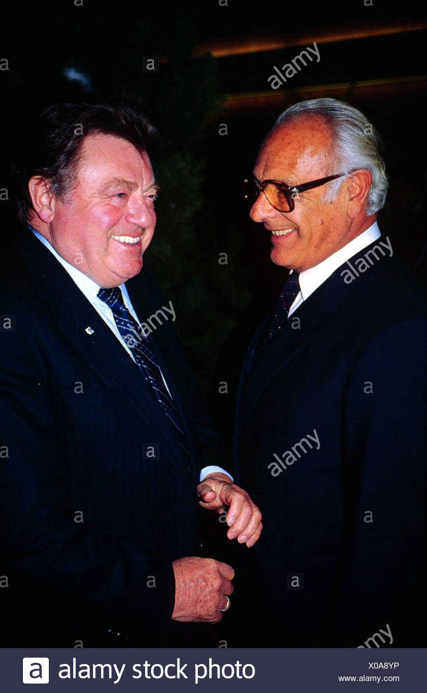 Rodenstock, Rolf, 1.7.1917 - 6.2.1997, German industrialist (optical works), half length, with Franz Josef Strauss (Minister Pre - Stock Image