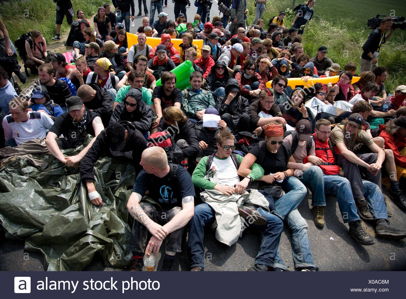 Protesters against the G-8 summit, Rostock, Heiligendamm, Mecklenburg-Western Pomerania, Germany Stock Photo