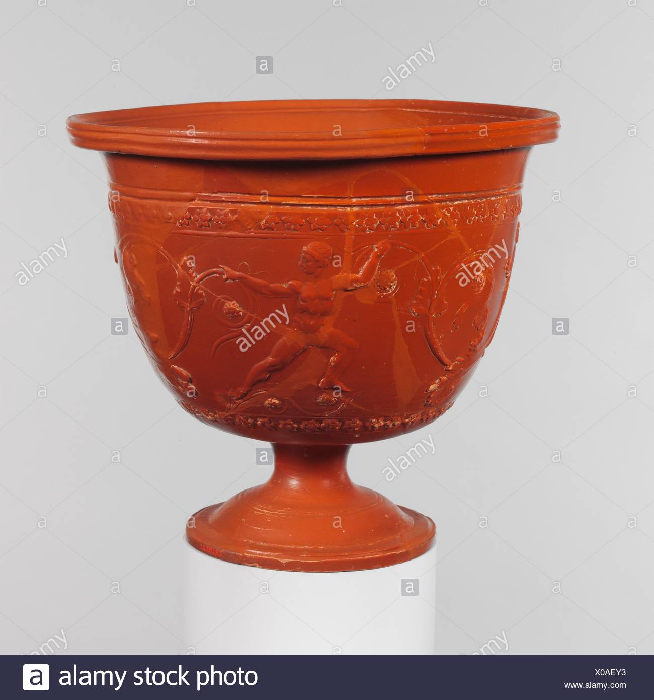 Terracotta bowl. Period: Early Imperial, Augustan; Date: ca. 20 B.C.-A.D. 10; Culture: Roman; Medium: Terracotta; Arretine ware; Dimensions: H. 7 in. Stock Photo
