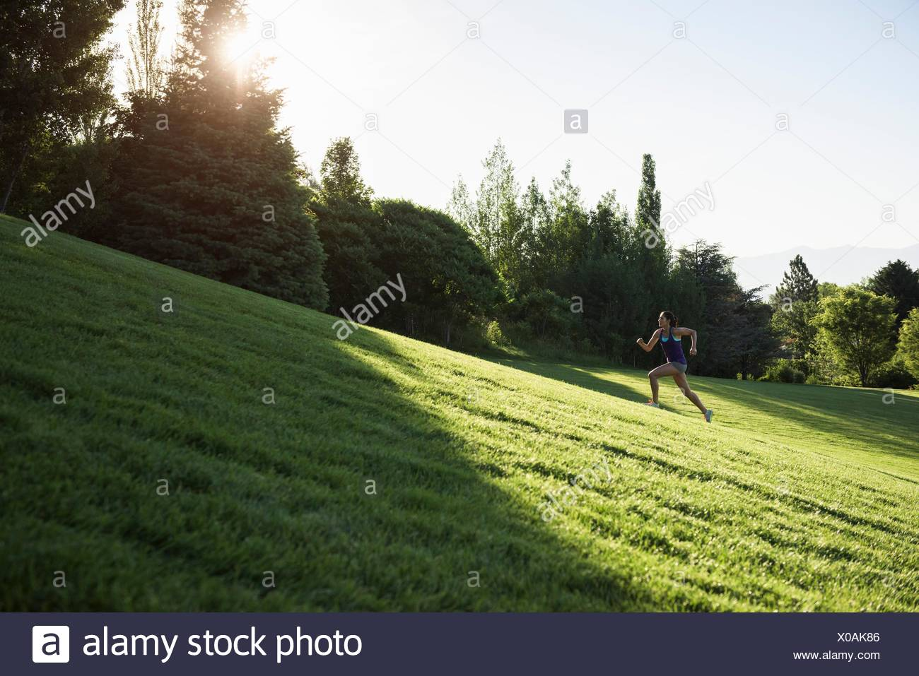 Young woman doing training run on hill in park - Stock Image