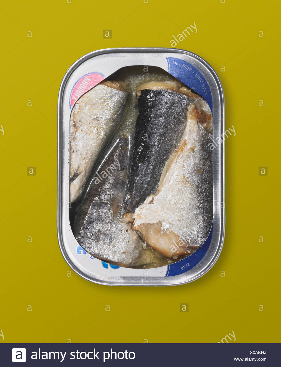 Canned herring on a yellow background - Stock Image