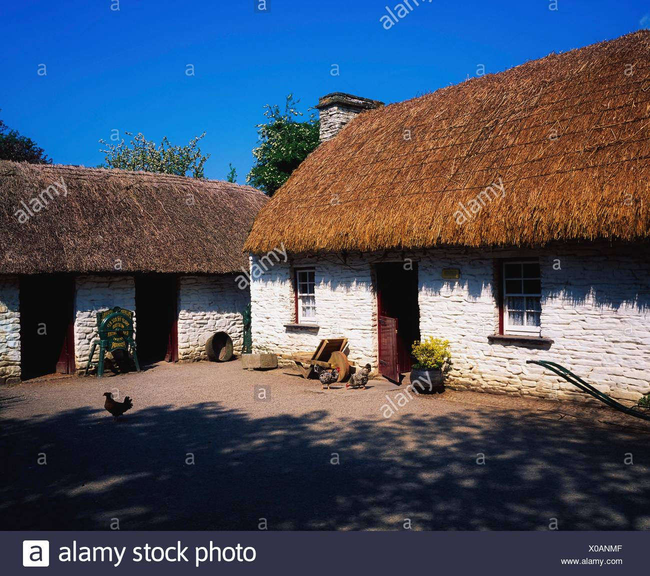 Bunratty Folk Park, Bunratty, Co Clare, Ireland; Cottages At A Folk Park - Stock Image