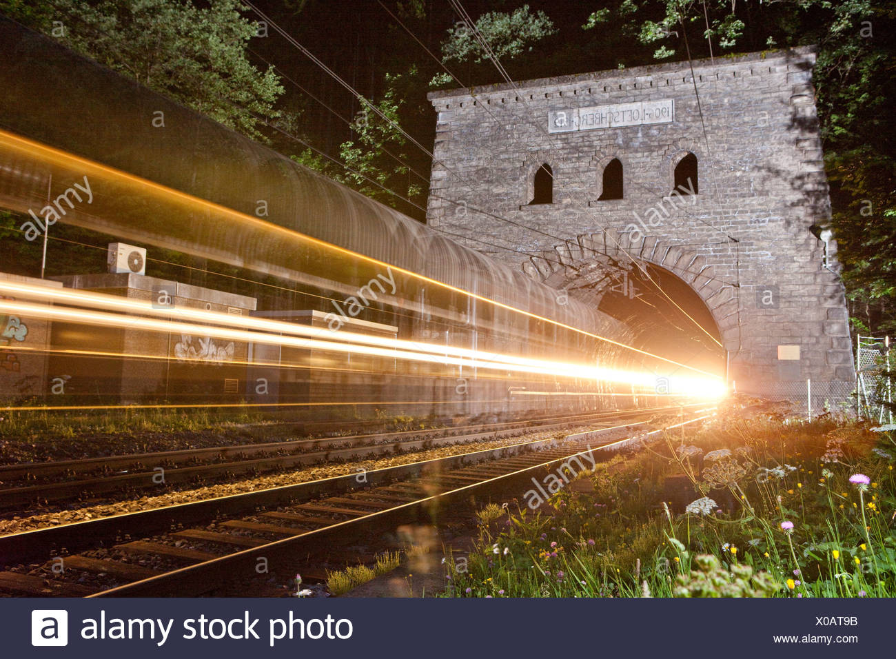 North main entrance, tunnel, Kandersteg, road, railway, train, railroad, Lötschberg, BLS, Switzerland, Europe, Bernese Oberland, - Stock Image