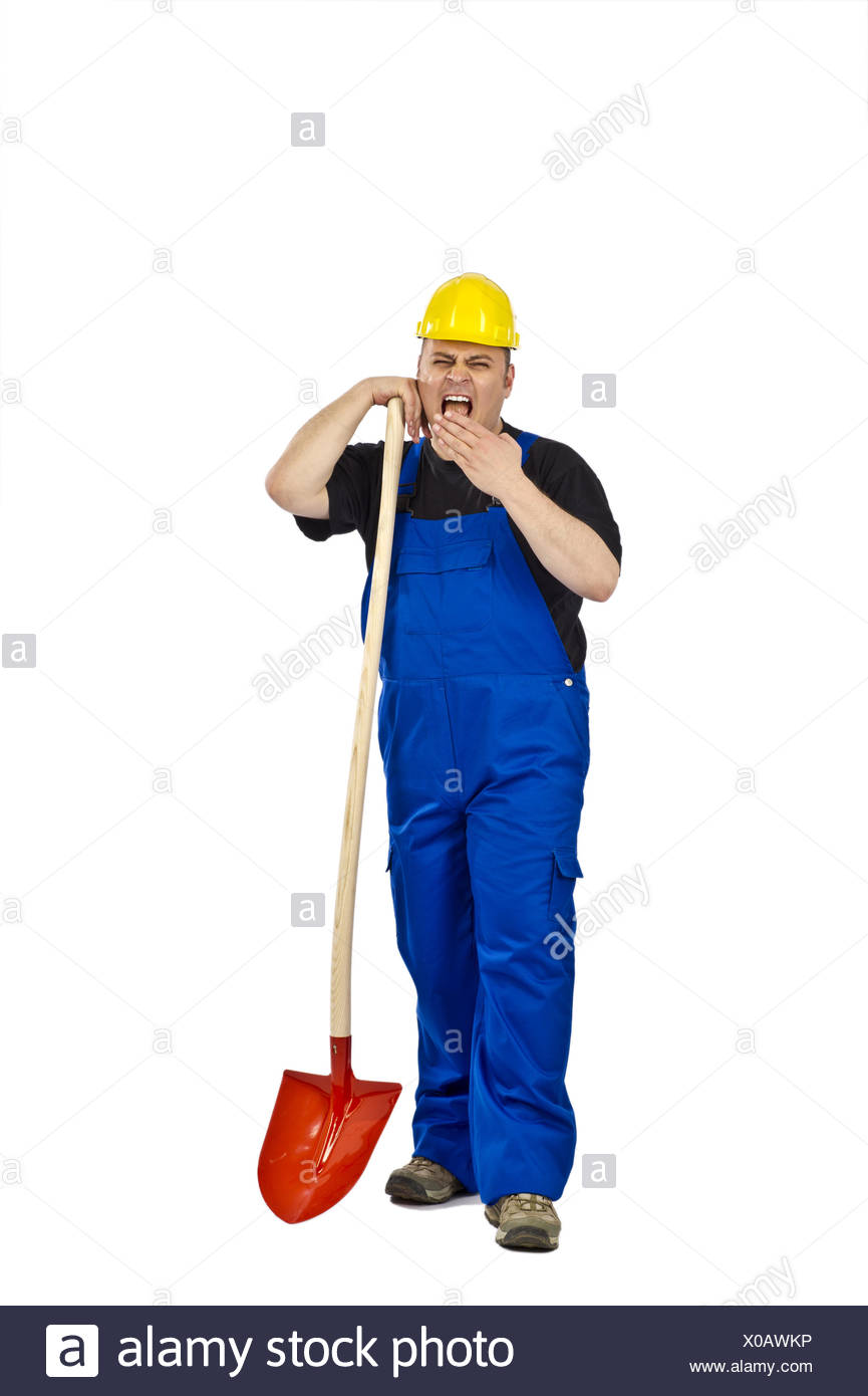 Craftsman with a shovel - Stock Image