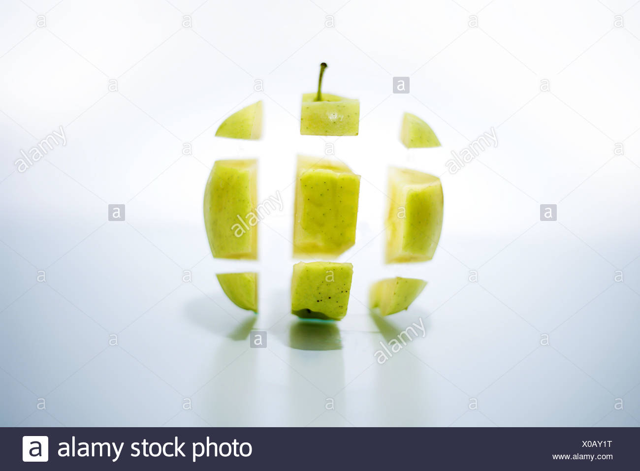 View of apple in pieces - Stock Image