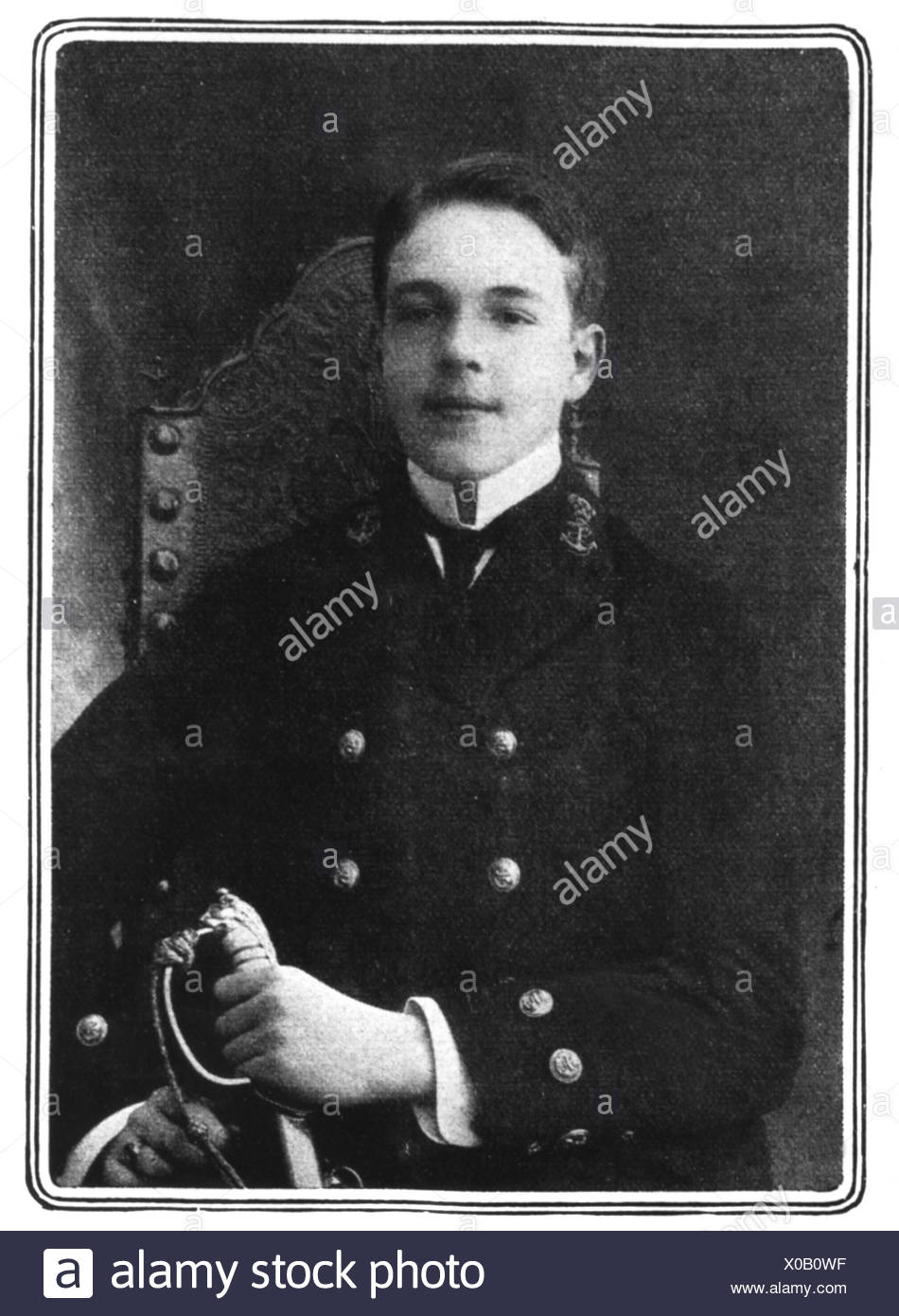 Manuel II, 15.11.1889 - 2.7.1932, King of Portugal 1.2.1908 - 5.10.1910, half length after photo, 1908, Additional-Rights-Clearances-NA Stock Photo