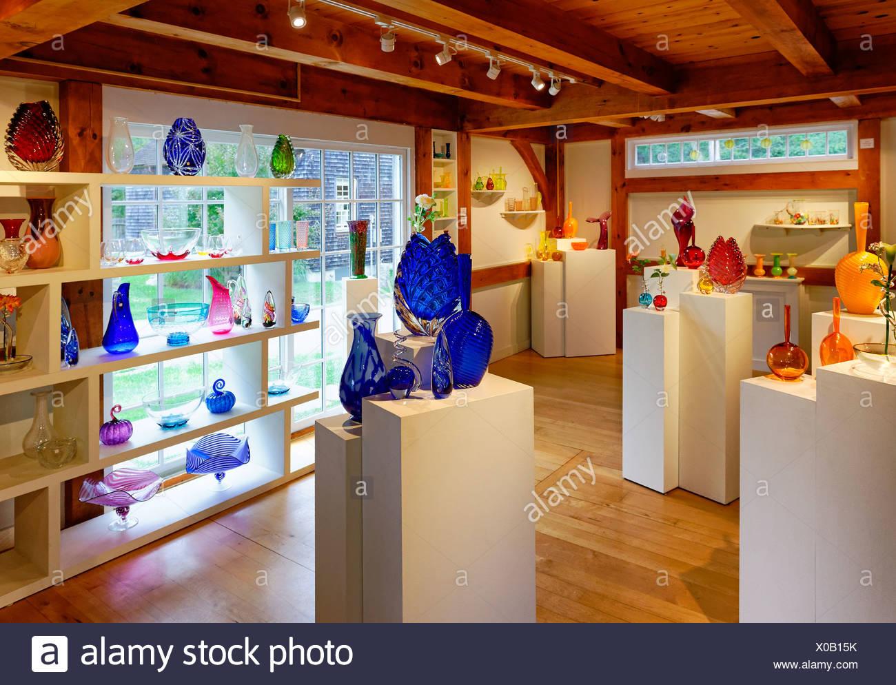 Showroom, Martha's Vineyard Glassworks, West Tisbury, Martha's Vineyard, Massachusetts, USA - Stock Image