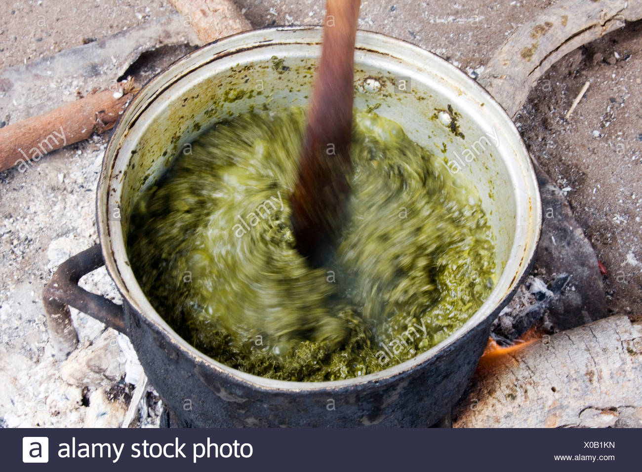 vegetables are stirred in a pot, Namibia, Mahango Lodge - Stock Image