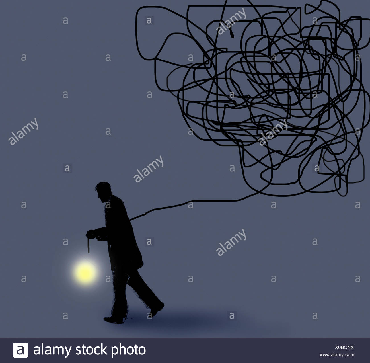 Illuminating Wire Stock Photos Images Alamy Subaru Interior Illumination Wiring Businessman Shining Light From The End Of Tangled Image
