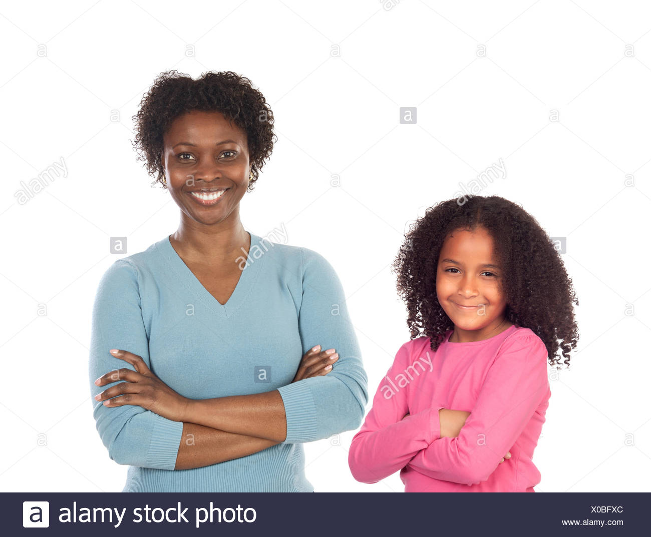 Beautiful mother with her daughter isolated on a white background Stock Photo