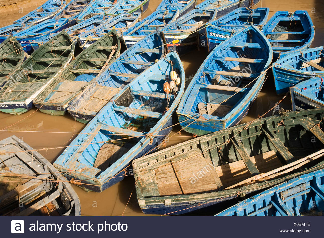 Boats Moored In Port Skala Harbour, Essaouira, Morocco - Stock Image