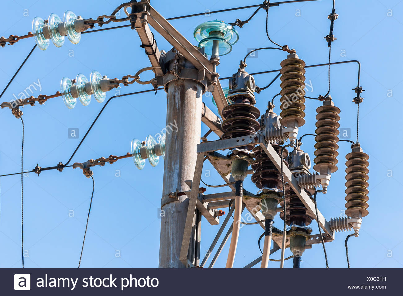 Electric pole connect to the high voltage electric wires on ... on
