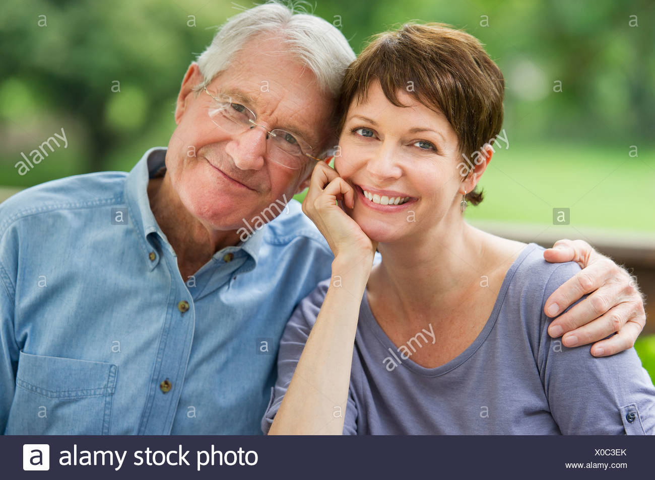 USA, New York State, Old Westbury, Portrait of father and adult daughter - Stock Image